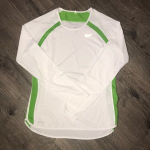 Nike Dri-fit white and green long Sleeve Shirt